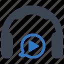 headphones, listen, play, video icon