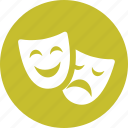 acting, comedy, drama, entertainent, masks, theater icon