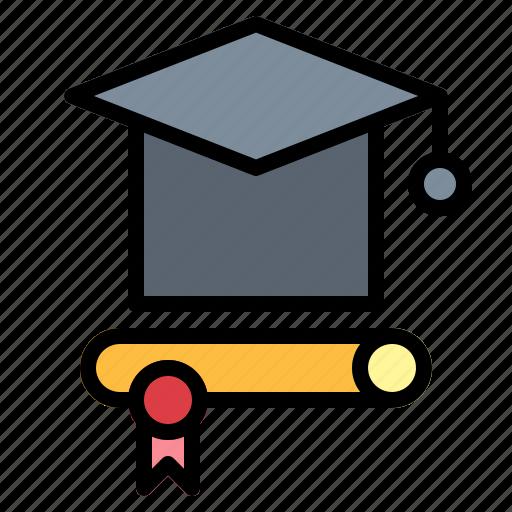 cap, diploma, education, graduation icon