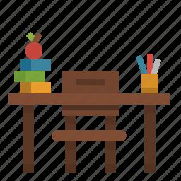 books, chair, class, desk, education, school, table icon