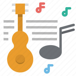 acoutic, guitar, music, musical, note, song icon