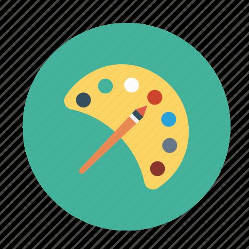 color pallet, colors, paint brush, water colors, water paints icon