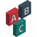 abc cubes, alphabet blocks, childhood, early learning, educational blocks, play blocks, preplay group icon