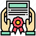 certificate, diploma, education, hand, ribbon icon