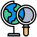 earth, find, geography, magnify, search, world icon