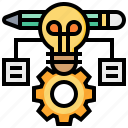 gear, idea, innovation, knowledge, pencil icon