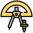 education, mathematic, pencil, ruler, tool icon