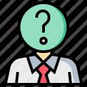businessman, education, man, question icon