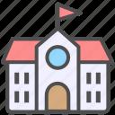 building, house, school icon