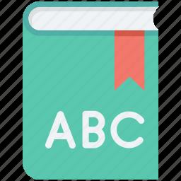 alphabets, book, english, english book, english class icon