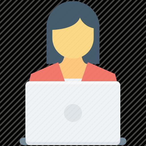 female, freelancer, lecture, presentation, public speaker icon