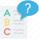 faq, question mark, questioner, sheet, text sheet icon
