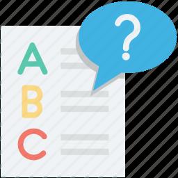 faq, question mark, questioner, sheet, text sheet icon