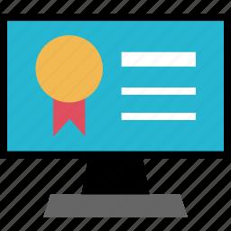 award, education, learning, monitor, school, screen icon