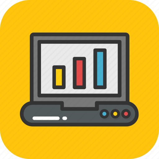 analytics, chart, graph, laptop, statistics icon