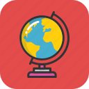 education, geography, globe, map, table globe icon