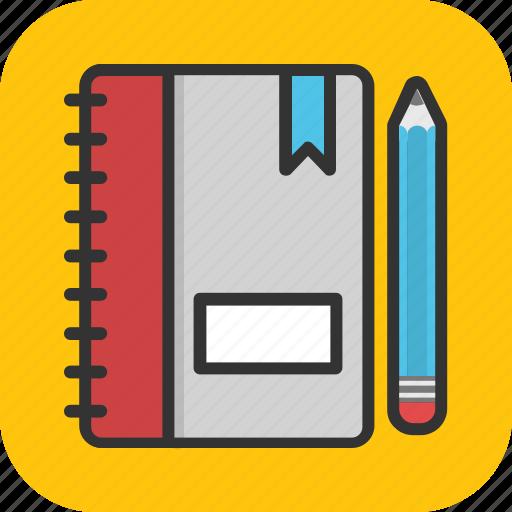 book, diary, memo book, notebook, pencil icon
