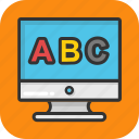 abc, alphabets, education, learning, monitor icon