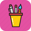 pen, pencil, pencil case, school, stationery icon