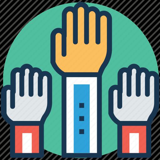 asking question, classroom raising hand, hands up, raise hand, volunteer icon