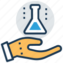 biochemistry, chemistry lab, conical flask, lab experiment, scientific research icon