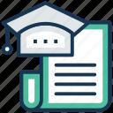diploma, graduation, graduation certificate, mortarboard, scholarship icon