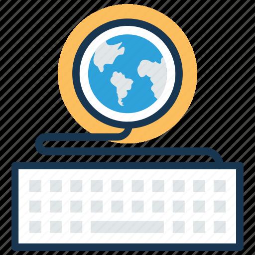 coding, computing, keyboard with globe, programming, typing icon
