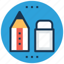 eraser, pencil, rubber, school supplies, stationery icon