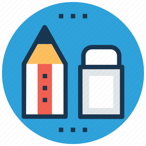 eraser, pencil, rubber, school supplies, stationery icon