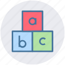 abc, alphabet, blocks, bricks, puzzle, toy icon