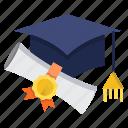 diploma, education, gap, graduation, hat icon