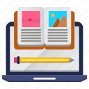 education, material, online, study icon