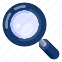 art, education, elementary, high school, magnifying glass, science, university icon