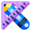 education, elementary, high school, pencil, ruler, science, university icon