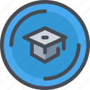 diploma, education, graduation, learning icon
