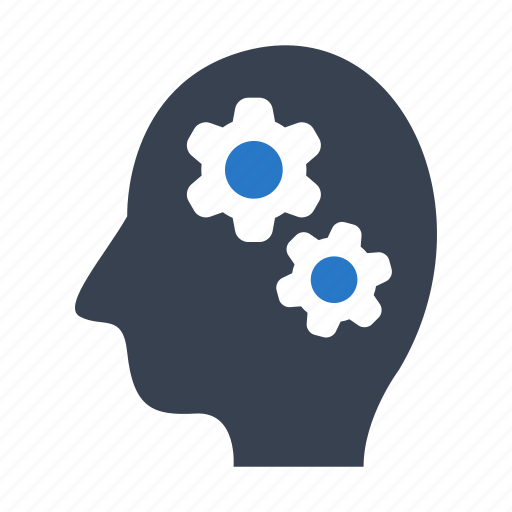 brainstorming, gear, mind, mindset icon