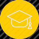 education, literature, mortarboard, school, university icon