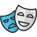 cinema, drama, face mask, mask, theater mask icon