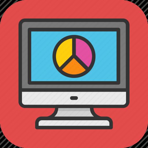 analytics, chart, graph, monitor, screen icon