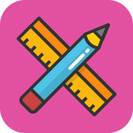 drafting, measuring, pencil, ruler, scale icon