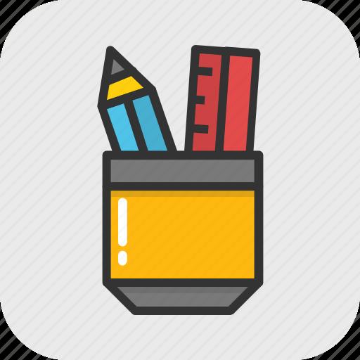 pen, pencil, pencil case, school, stationery icon