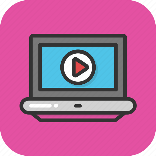 laptop, media, play, video, video player icon