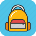 backpack, bag, books, rucksack, school bag icon