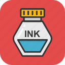 ink, ink pot, inkwell, school, write icon