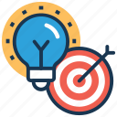 best idea, bulb with target, idea target, marketing idea, objective target icon