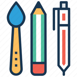 back to school, ballpen, paint brush, pencil, stationery icon
