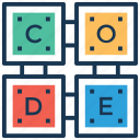 building blocks, code, code blocks, code cubes, encode icon