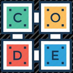 building blocks, code, code blocks, code cubes, encode icon