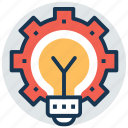 creative idea, creativity, generate idea, idea cog, idea development icon