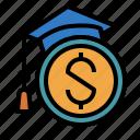 education, money, scholarship, school, university icon